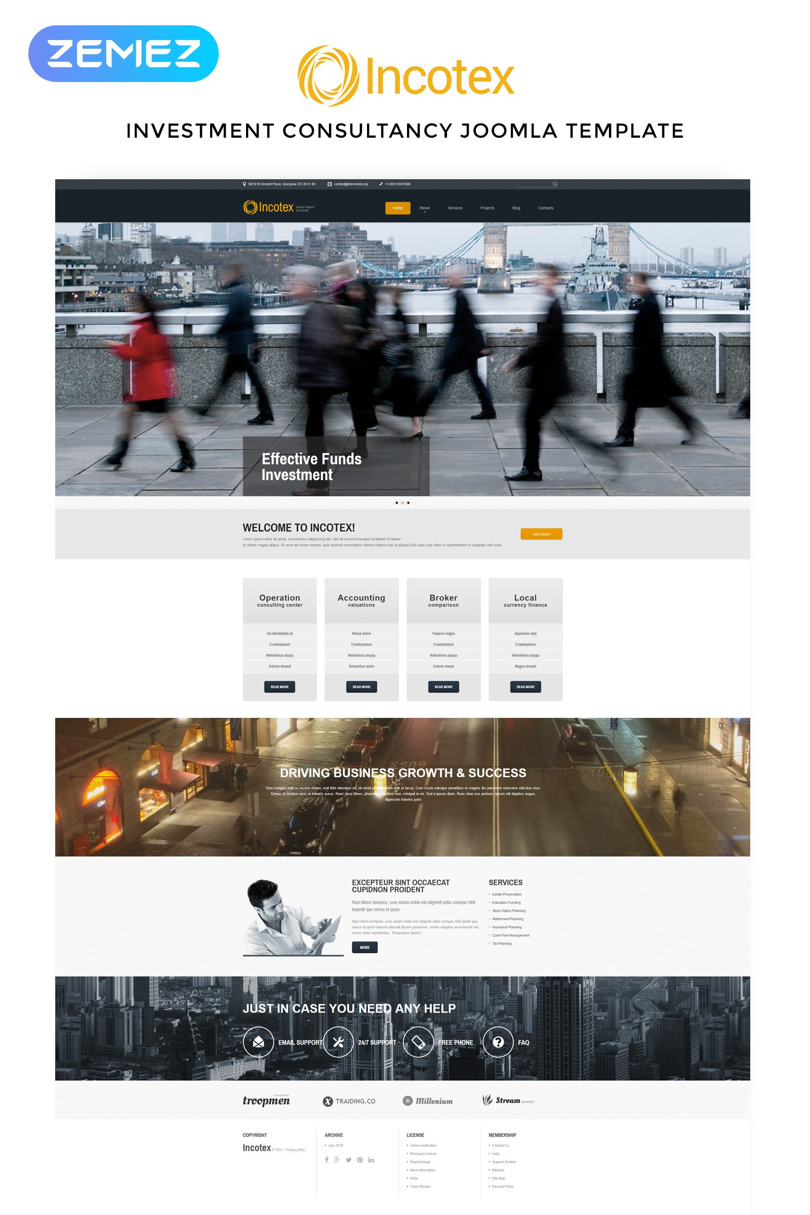 """Incotex - Investment Company Clean"" Responsive Joomla Template №52577 - screenshot"