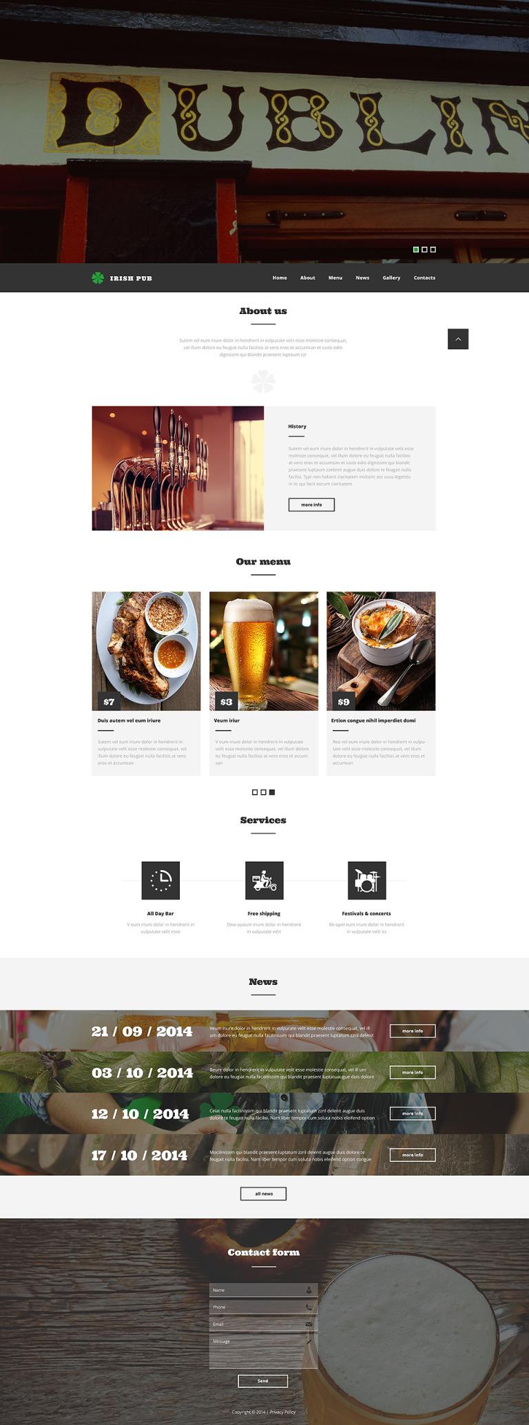Irish Pub Website Template New Screenshots BIG