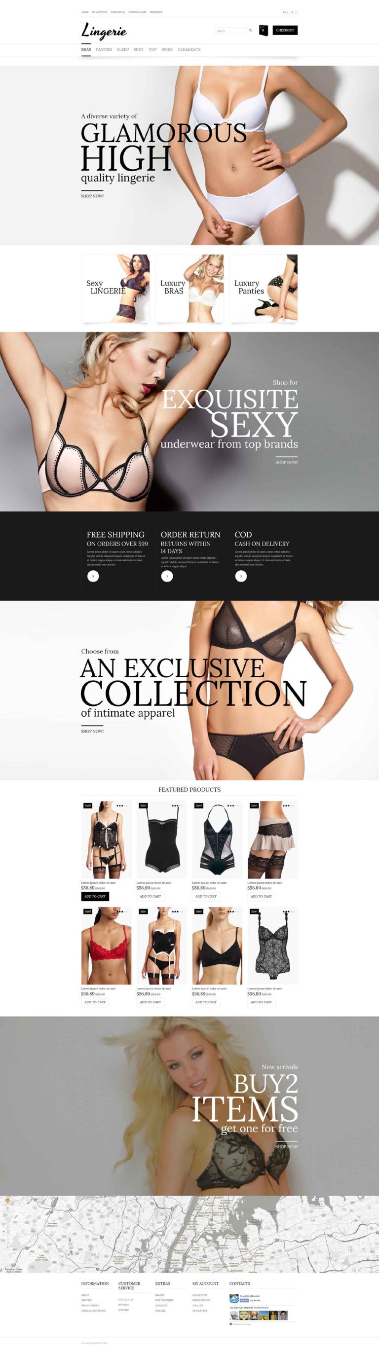 Lingerie Store OpenCart Template New Screenshots BIG