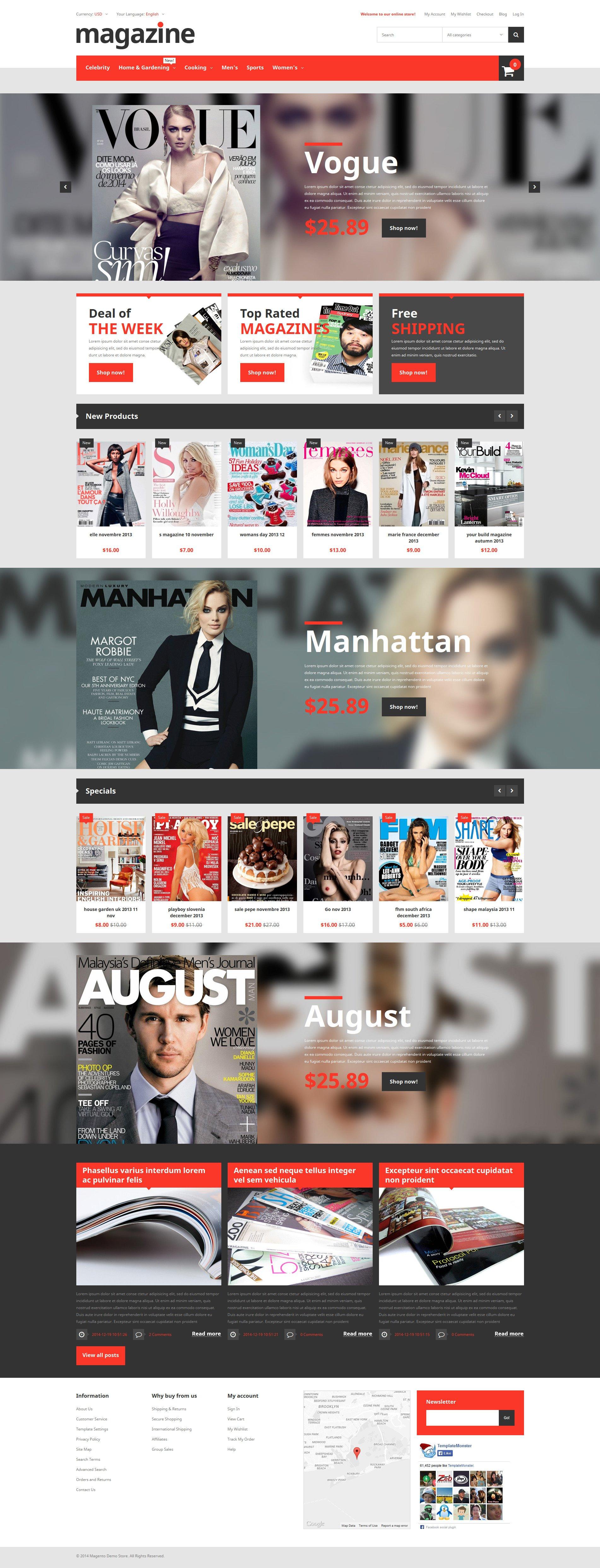 Magazine Store Magento Theme - screenshot