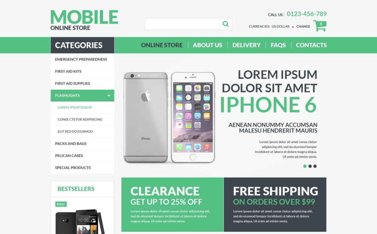Mobile Electronics VirtueMart Template