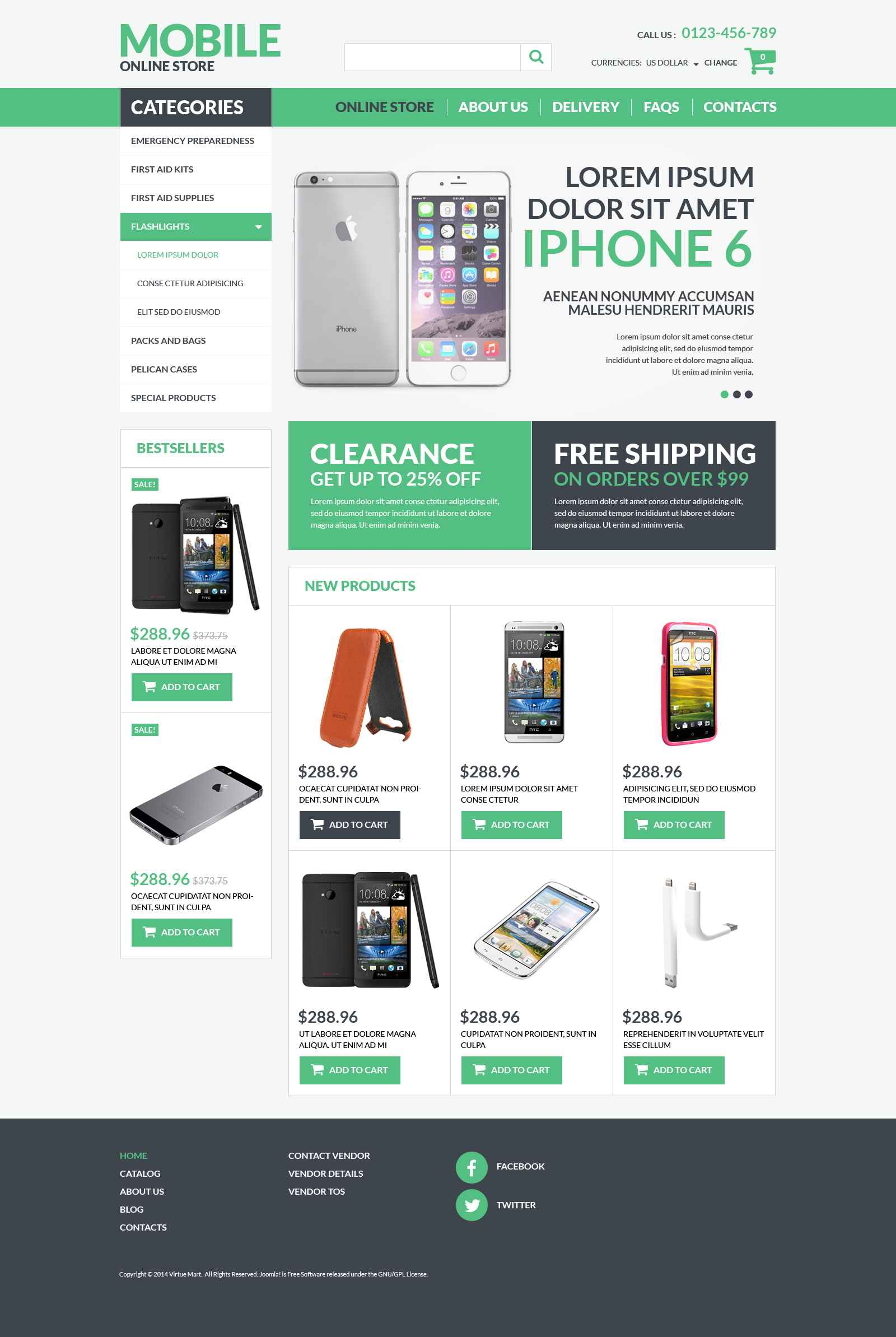 Mobile Electronics VirtueMart Template