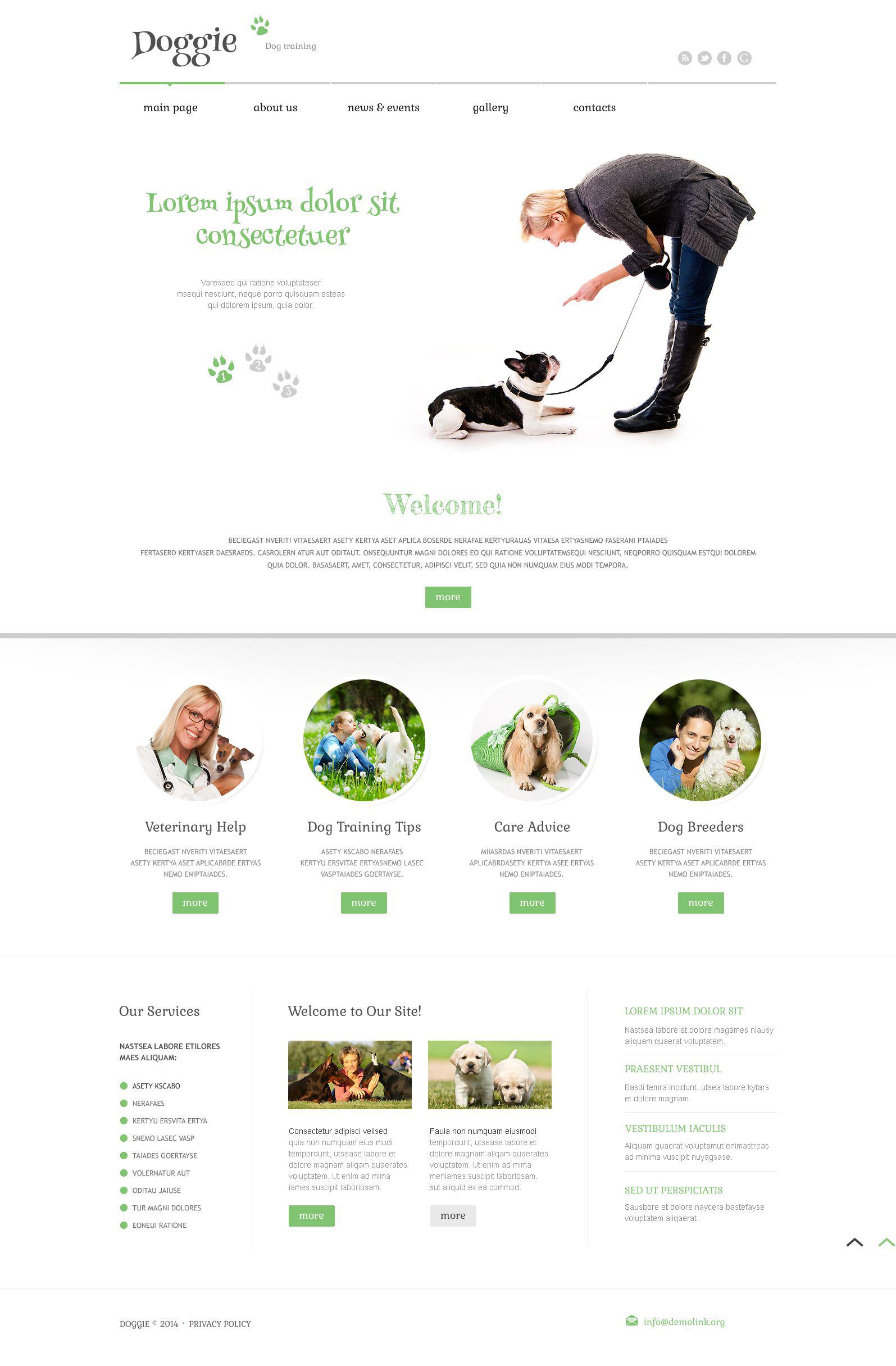Modello WordPress Responsive #52559 per Un Sito di Cani