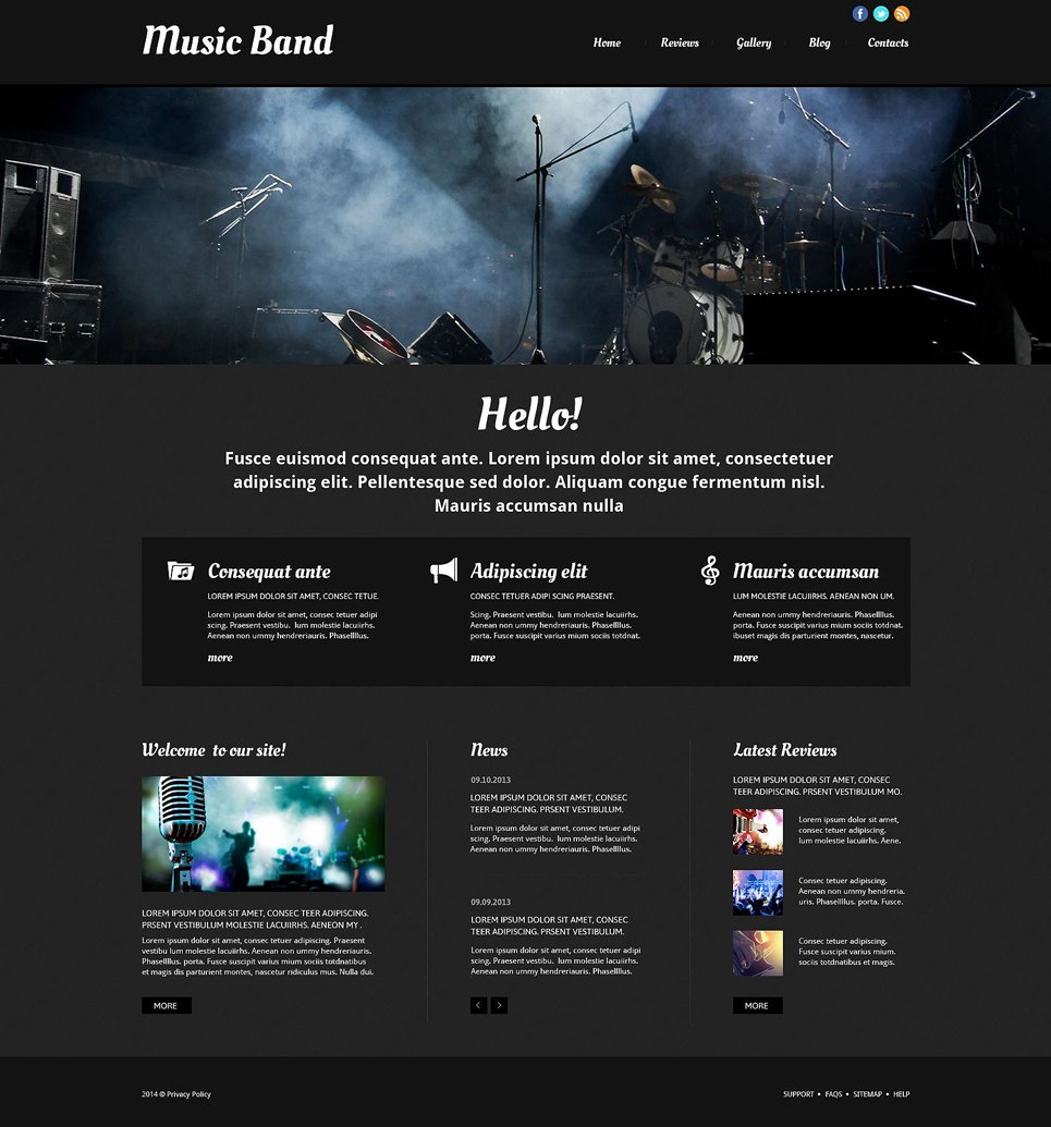 music band responsive website template 52511. Black Bedroom Furniture Sets. Home Design Ideas