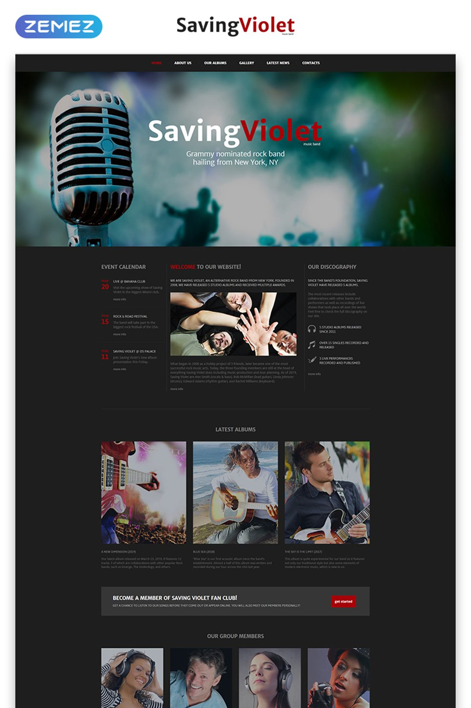 music band website template. Black Bedroom Furniture Sets. Home Design Ideas