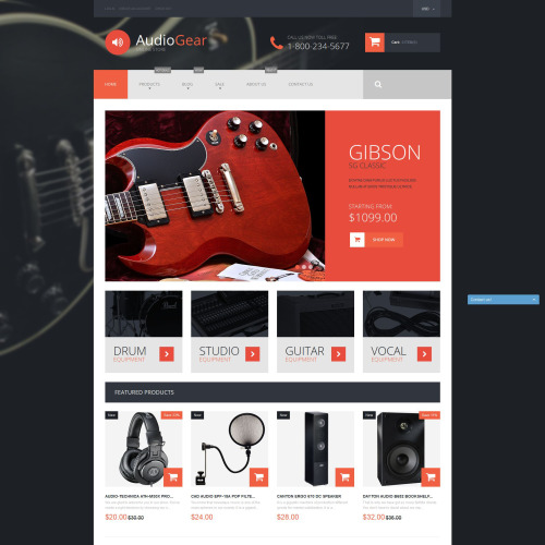 Audio Gear - Shopify Template based on Bootstrap