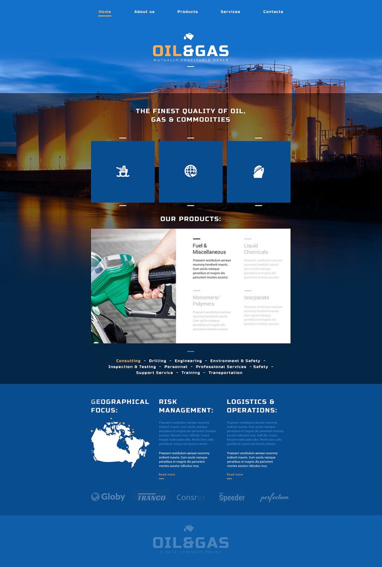 oil gas company website template #52502, Presentation templates