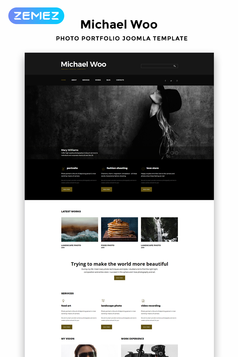 "Plantilla Joomla ""Michael Woo - Photographer Portfolio Elegant"" #52587"