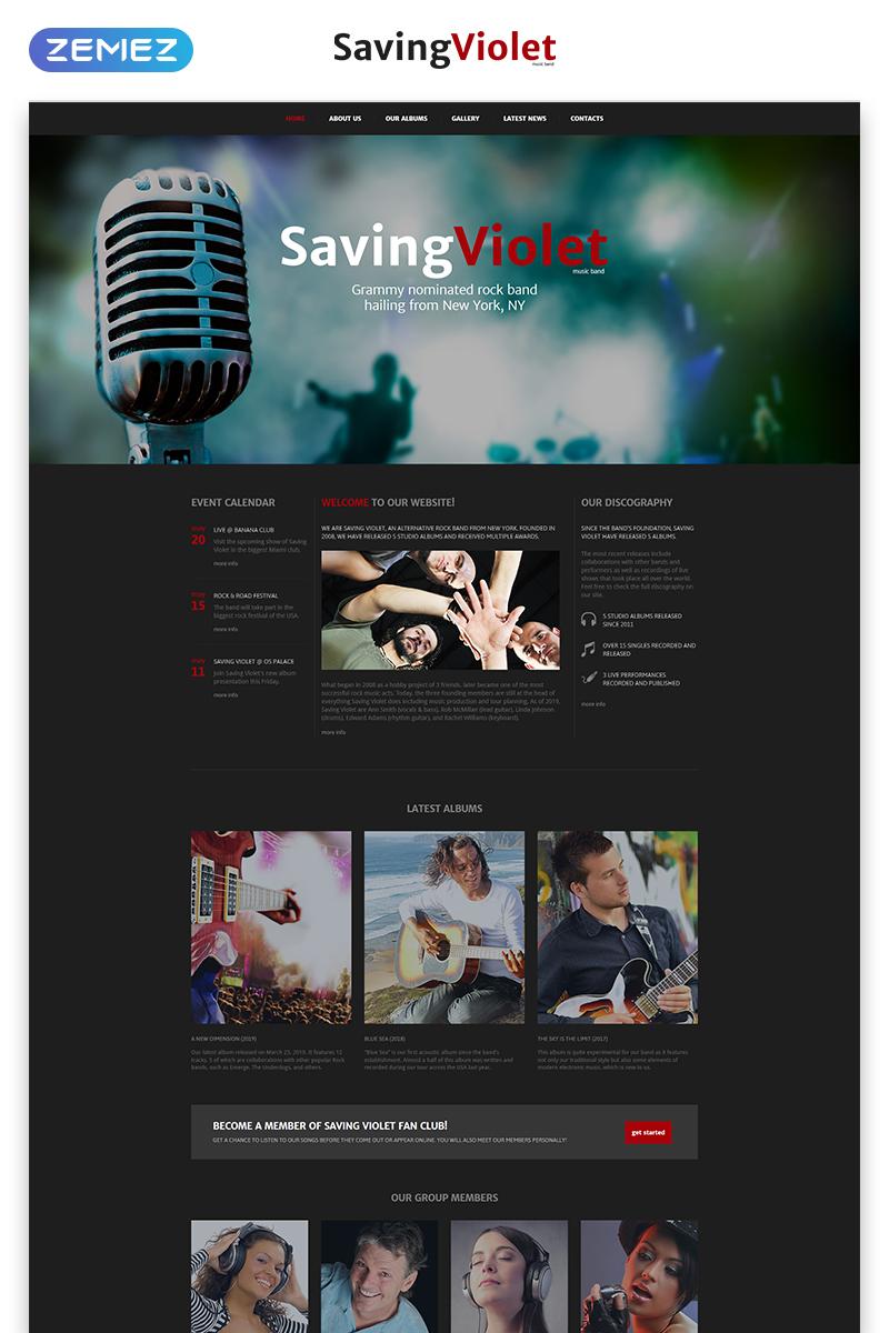 "Plantilla Web ""SavingViolet - Music Band Responsive HTML5"" #52543"