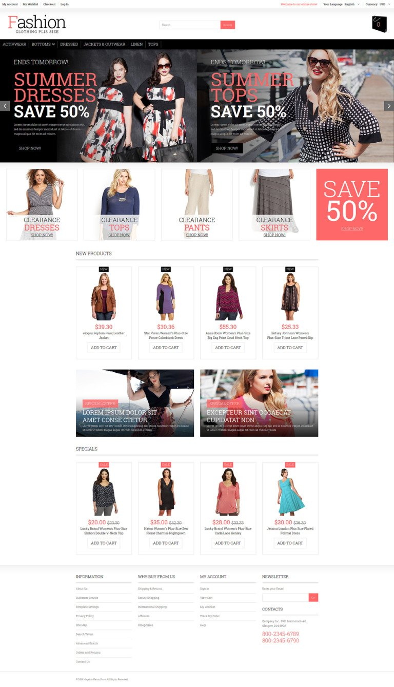 Plus Size Women Clothing Magento Theme New Screenshots BIG