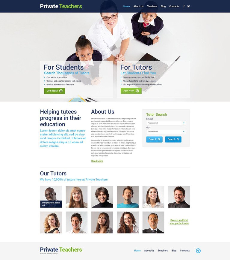 Private Teachers WordPress Theme New Screenshots BIG