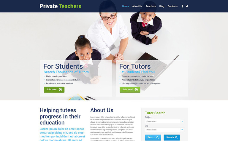 Private Teachers WordPress Theme