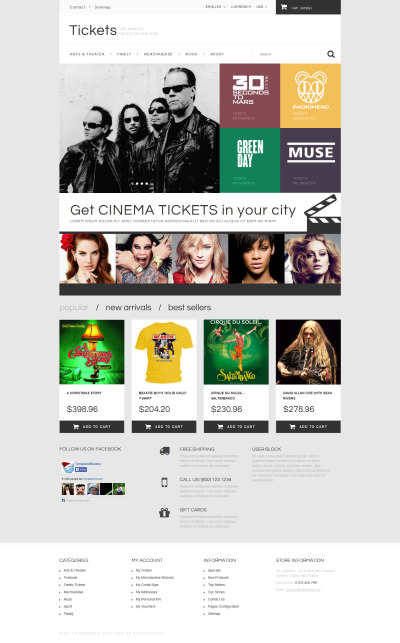 Thème PrestaShop adaptatif  pour site de vente de billets