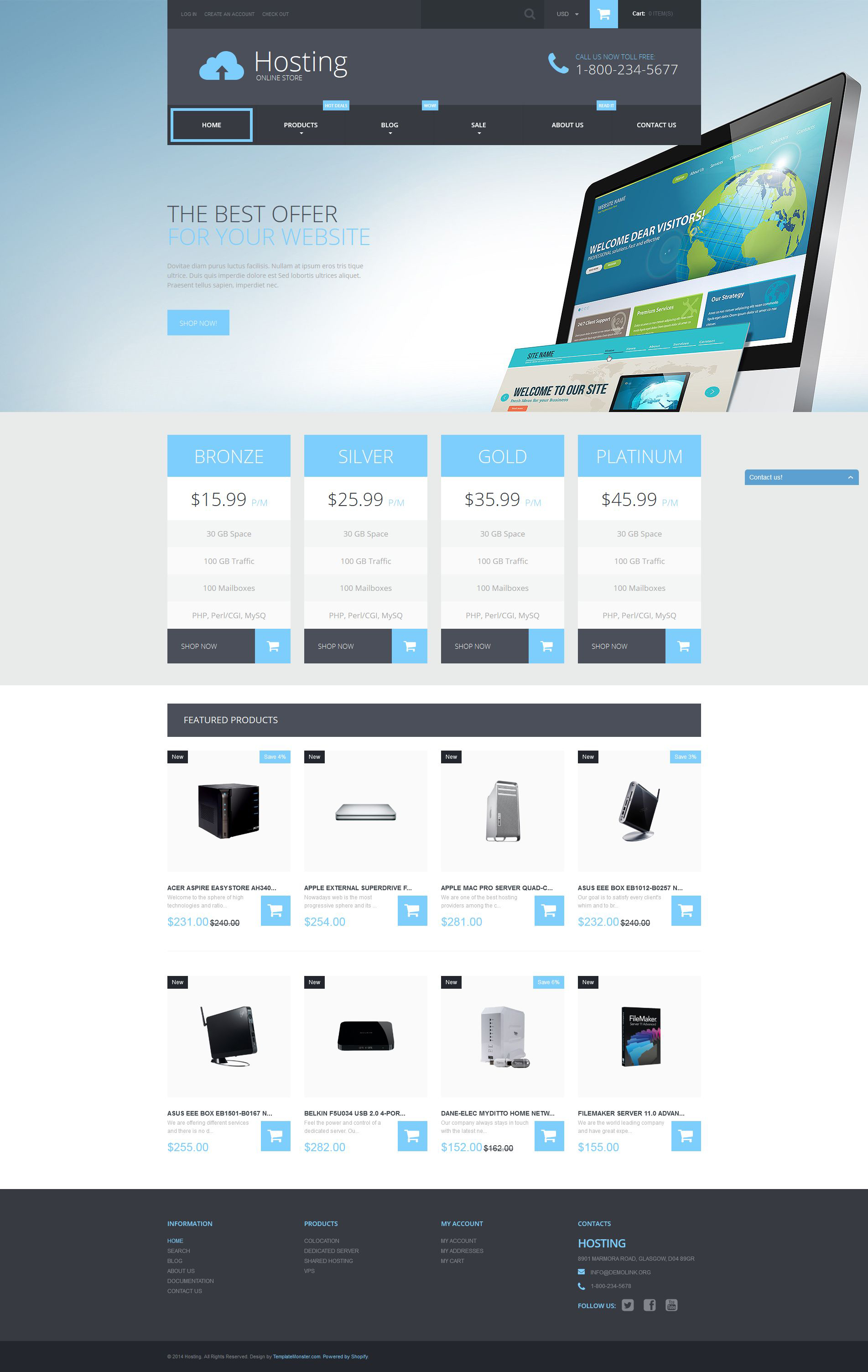 Responsywny szablon Shopify Web Hosting Services #52598