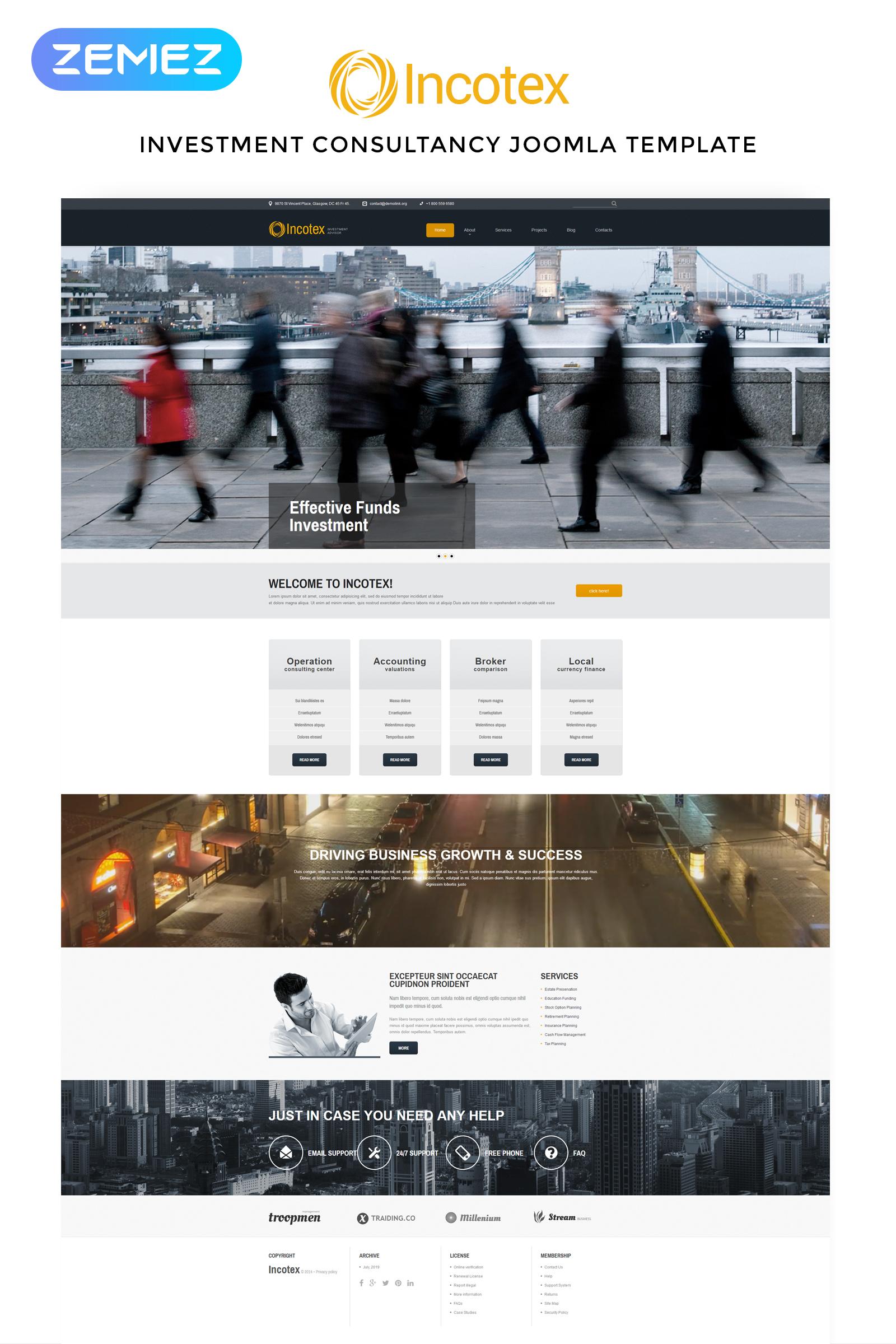 "Responzivní Joomla šablona ""Incotex - Investment Company Clean"" #52577"