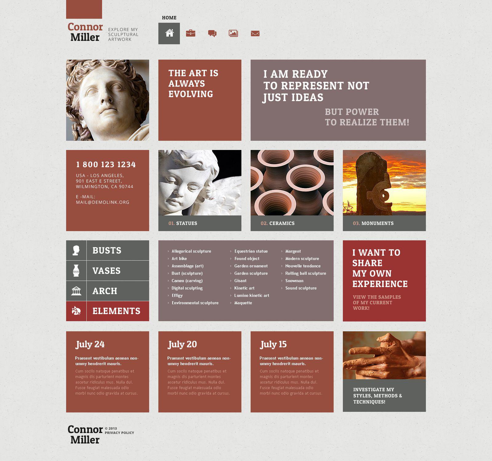 Reszponzív Art Blog WordPress sablon 52508 - képernyőkép
