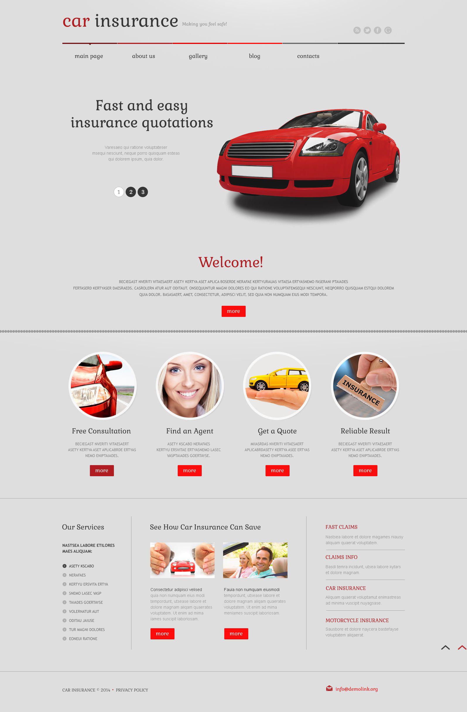 Reszponzív Autóbiztosítási WordPress sablon 52562 - képernyőkép