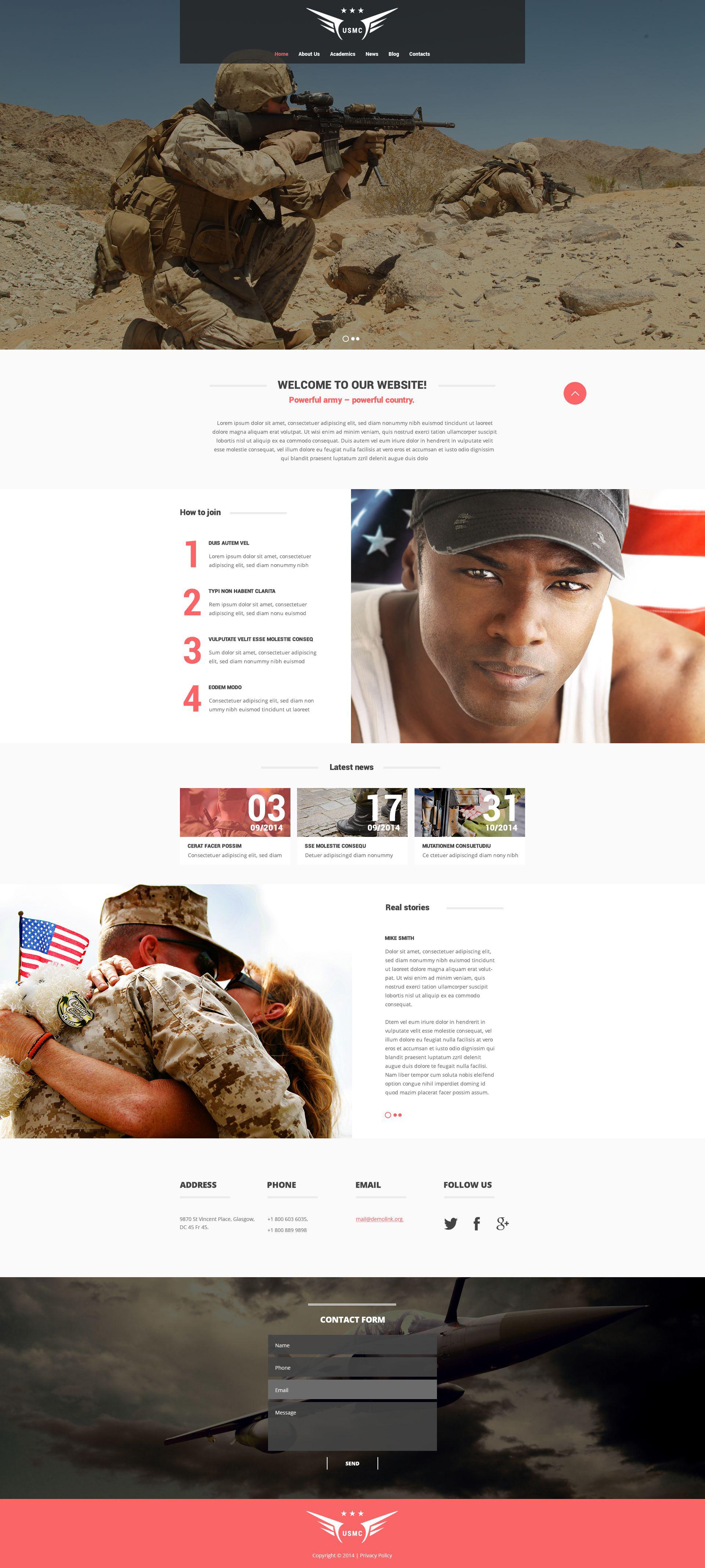 Reszponzív Marine Corps Weboldal sablon 52500