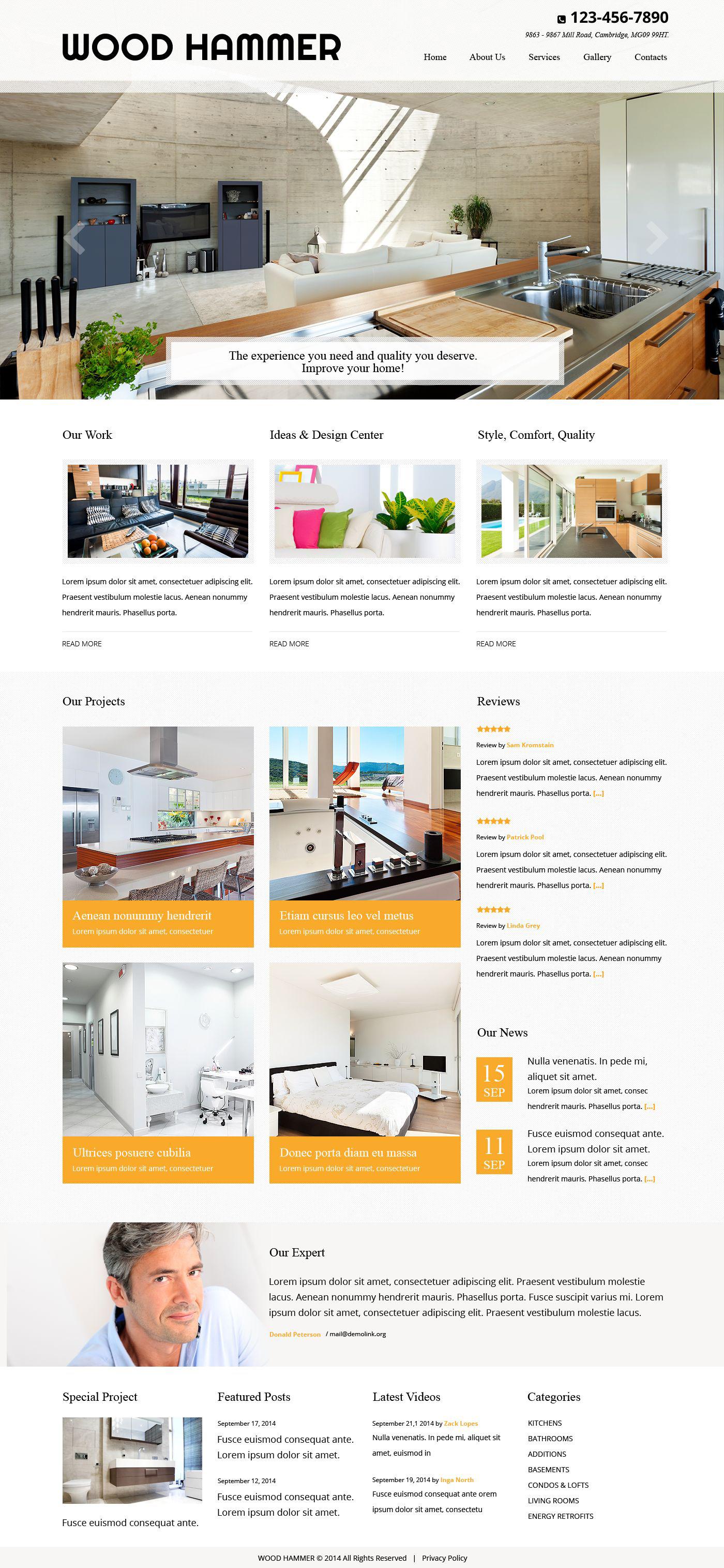 Reszponzív Residential Remodeling Weboldal sablon 52522