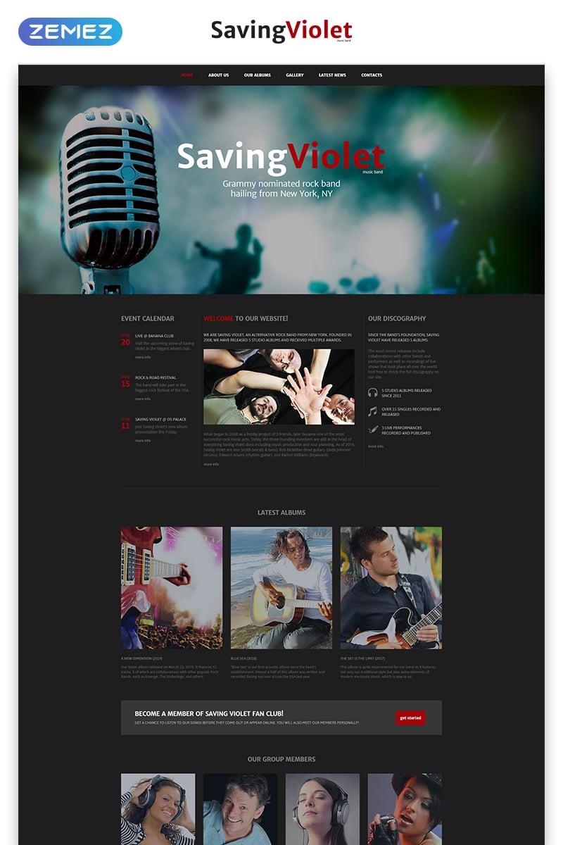 Reszponzív SavingViolet - Music Band Responsive HTML5 Weboldal sablon 52543