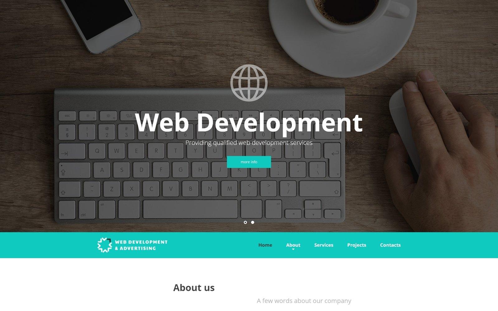 Reszponzív Web Development & Advertising - Web Development Responsive Weboldal sablon 52537