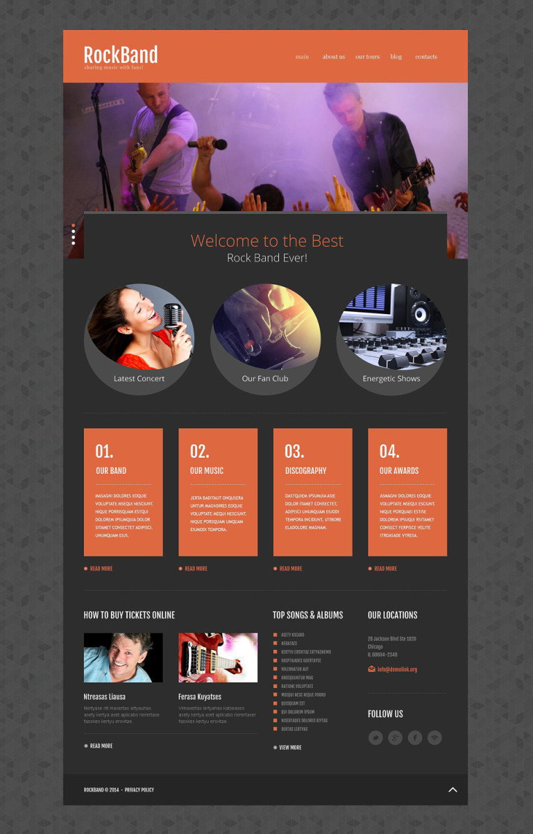 Rock Band Website Template New Screenshots BIG