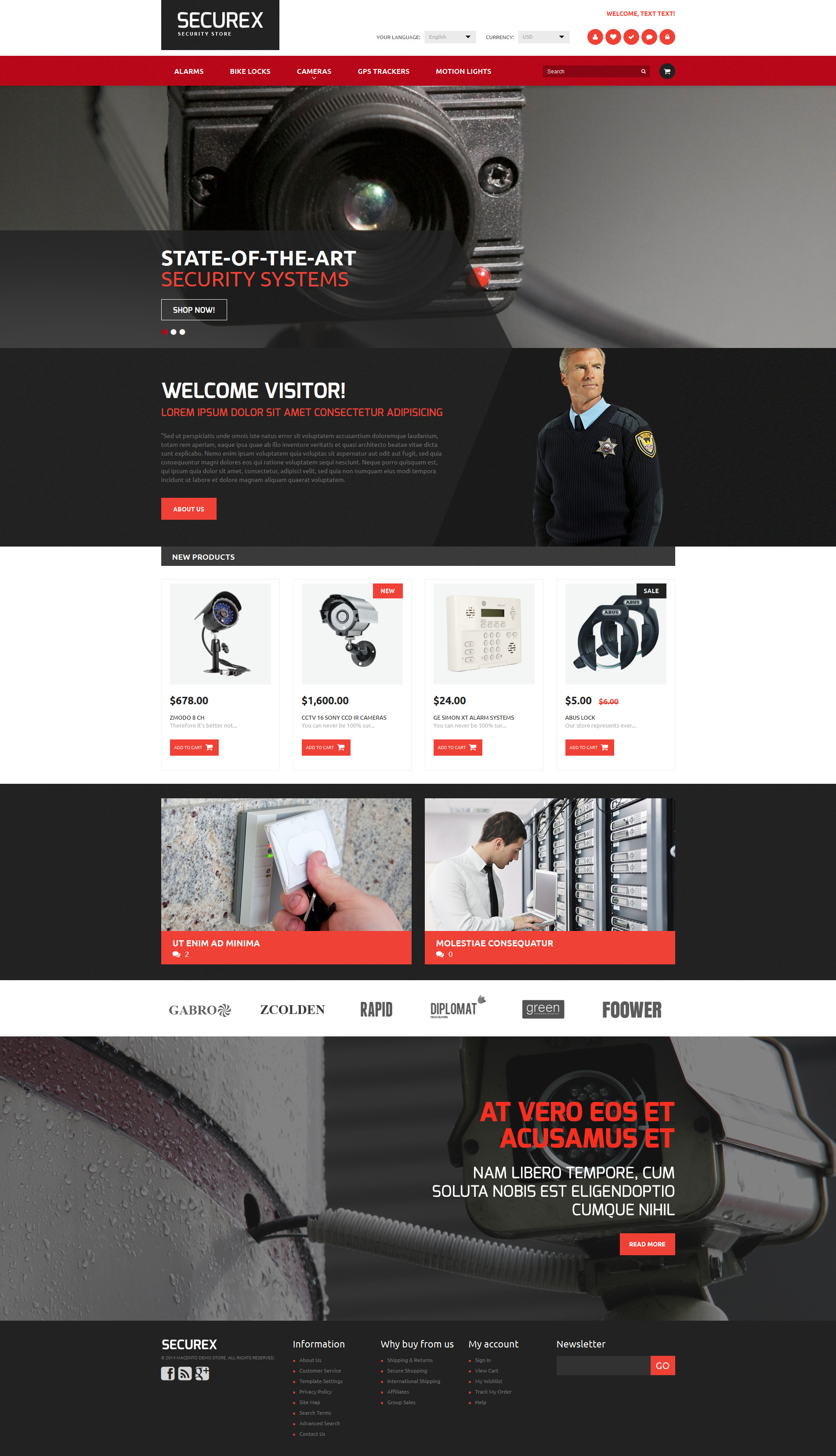 Security Products Store Magento Theme - screenshot
