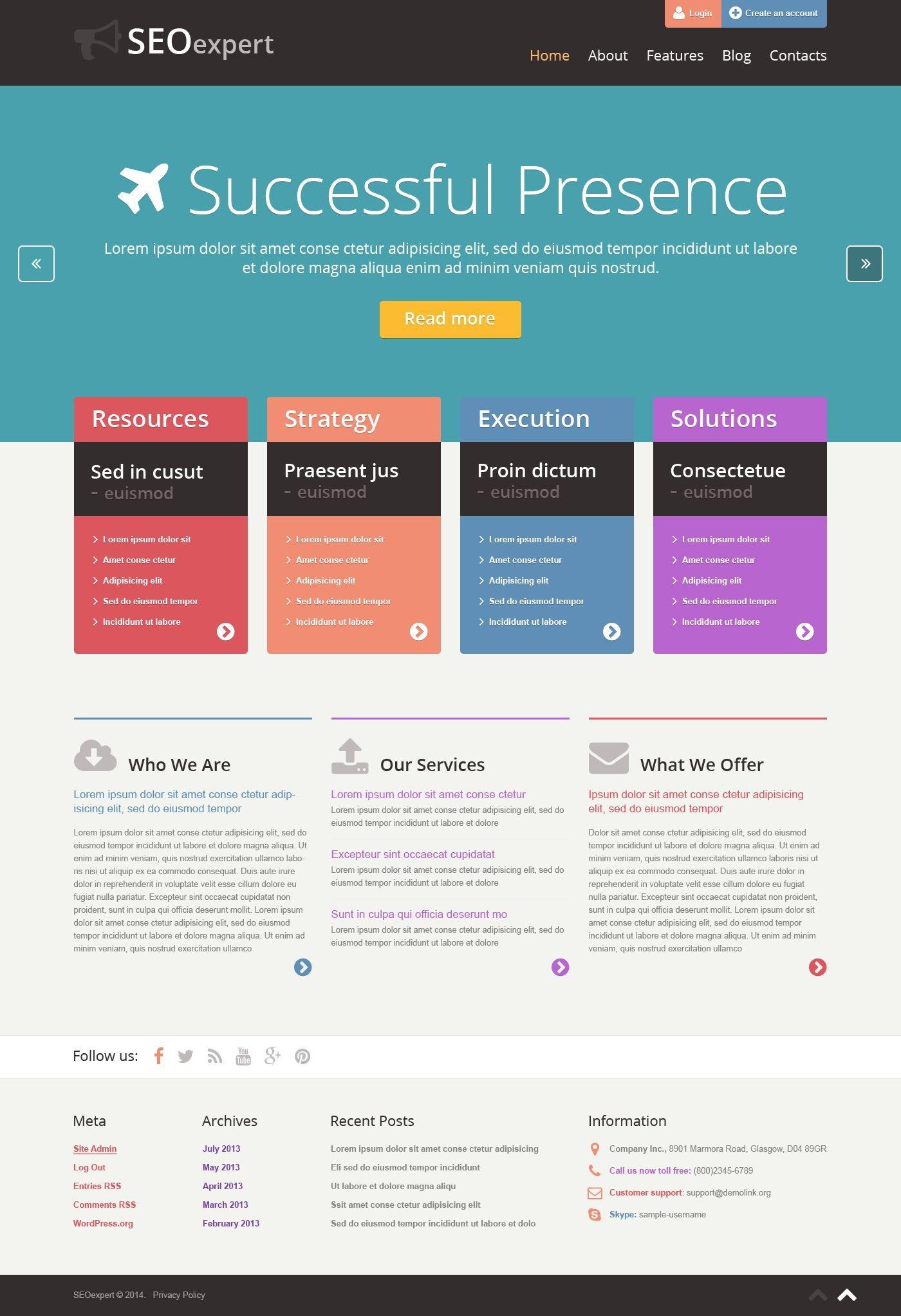 SEO Website Responsive WordPress Theme #52557