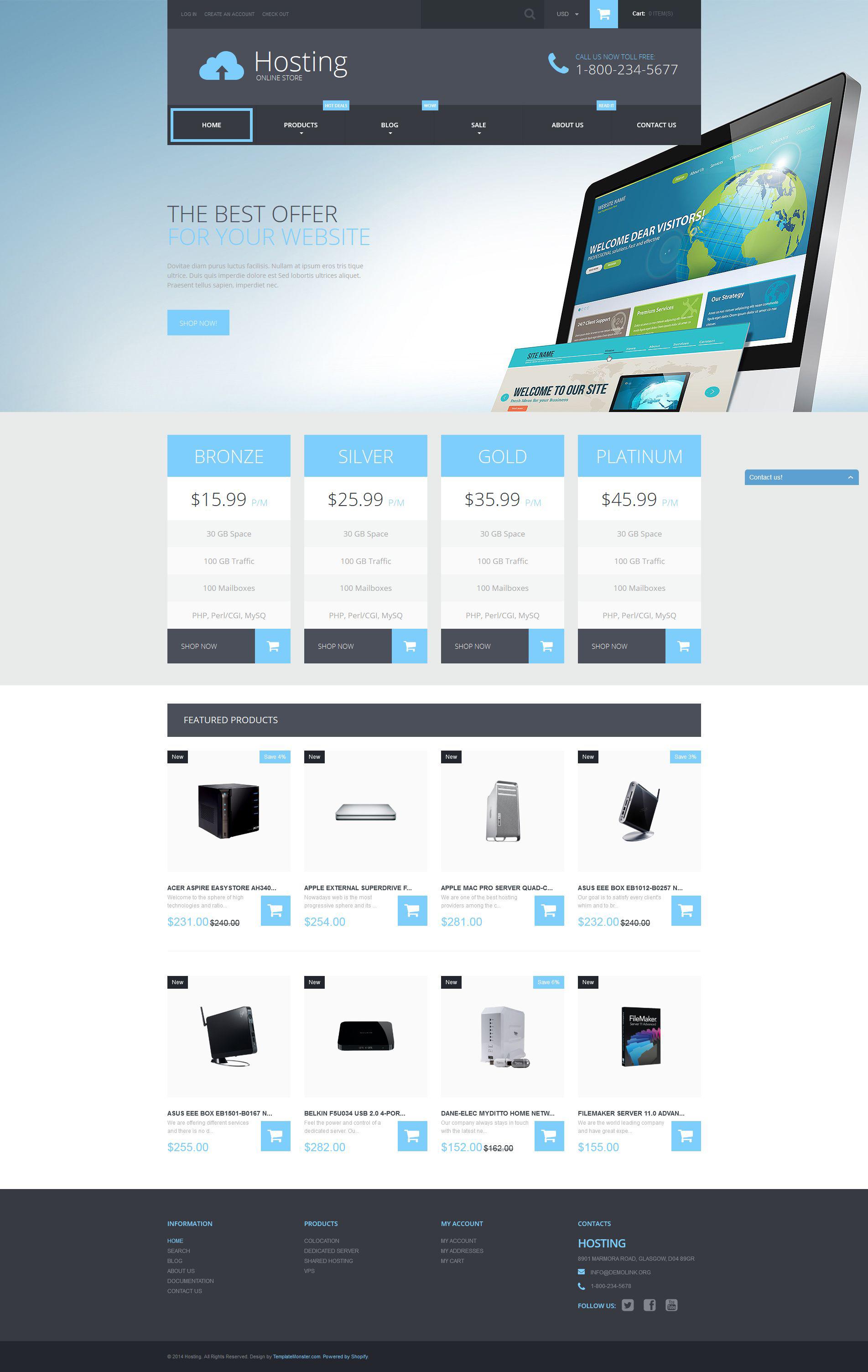 """Shopify Theme namens """"Web-Hosting-Dienstleistungen"""" #52598"""