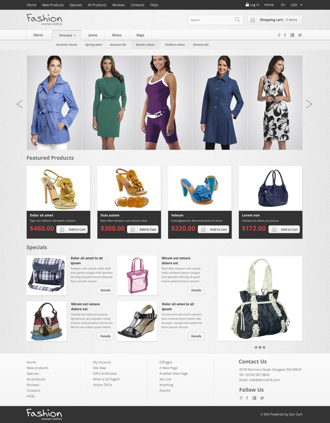 Szablon ZenCart #52517 na temat: sklep modowy - zrzut ekranu