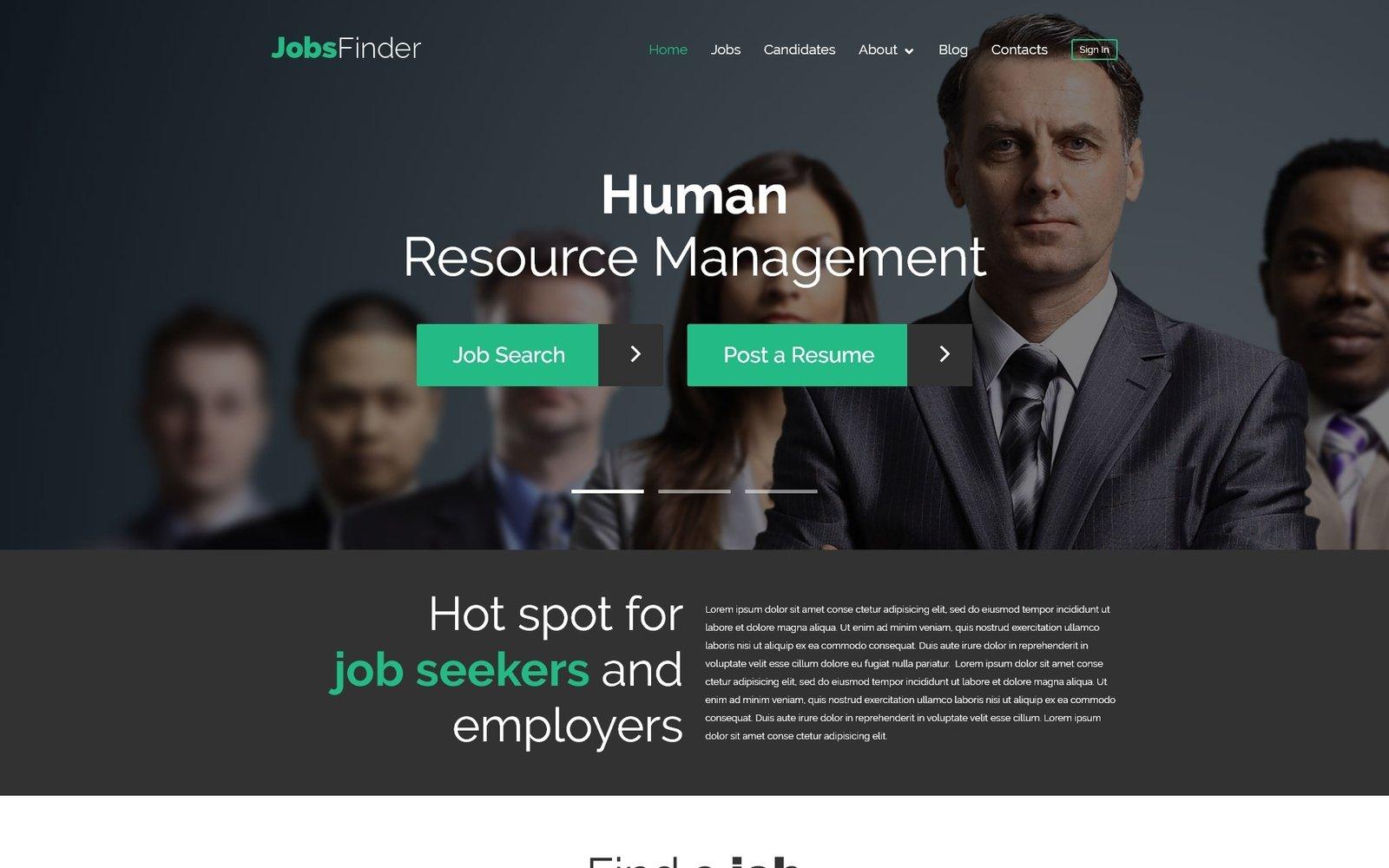 Tema De WordPress Responsive para Sitio de Portal de Empleo #52547 - captura de pantalla