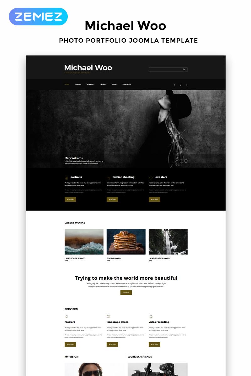"Tema Joomla Responsive #52587 ""Michael Woo - Photographer Portfolio Elegant"""
