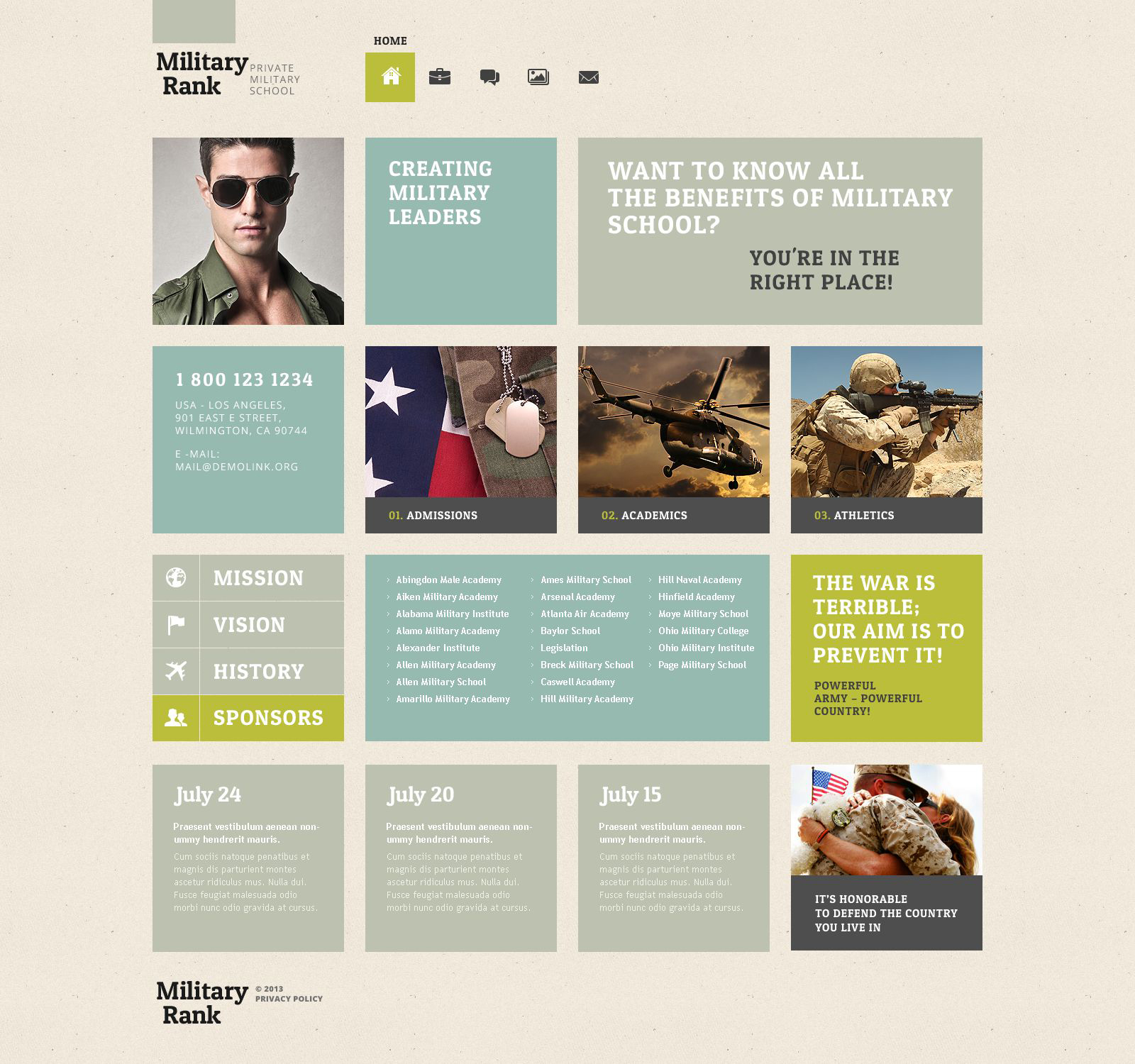 "Tema WordPress Responsive #52506 ""Solution for Military School"""