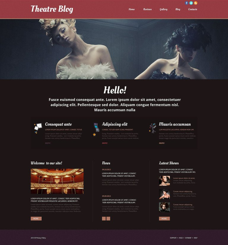 Theater Responsive Website Template New Screenshots BIG