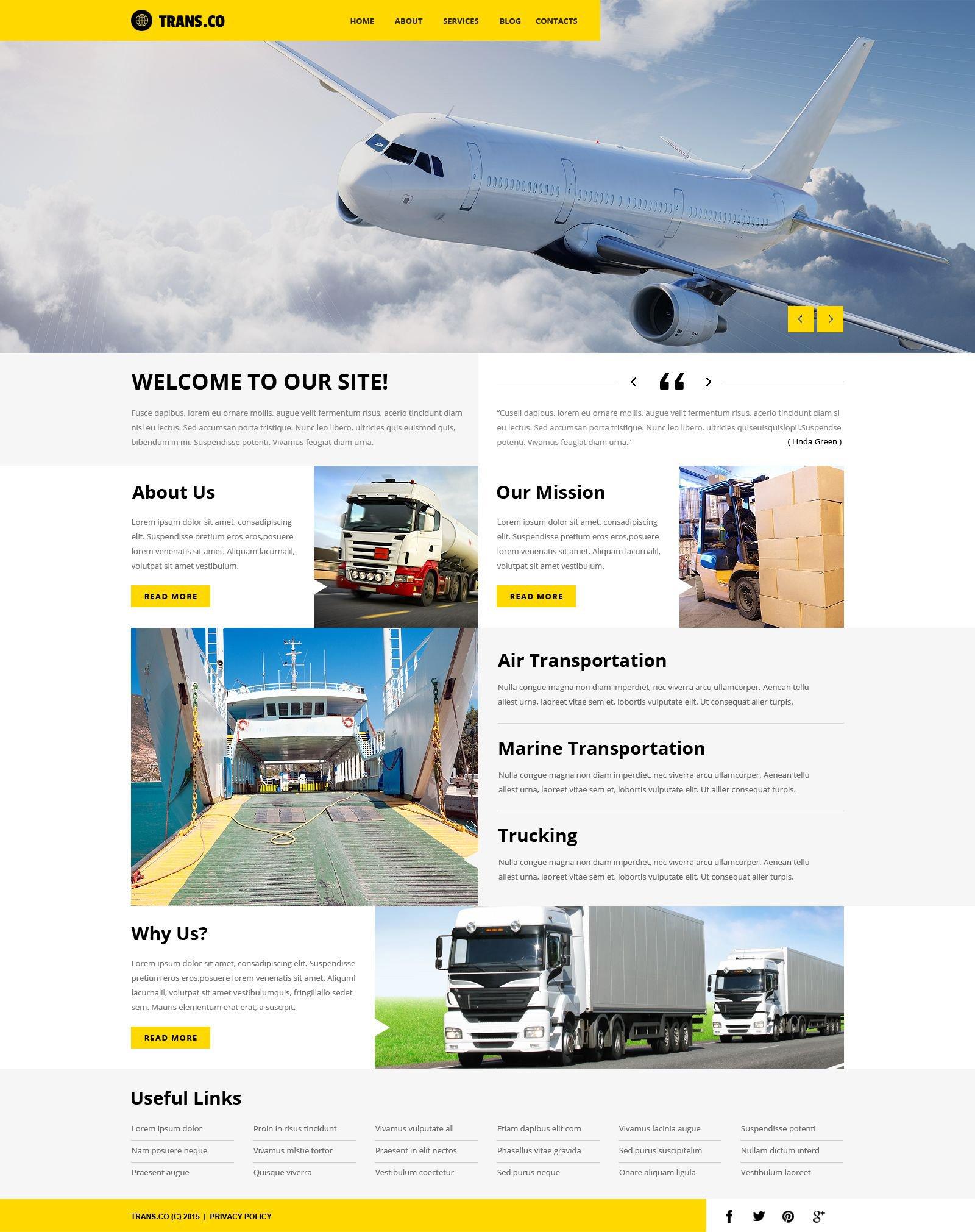 Transportation Services WordPress Theme - screenshot