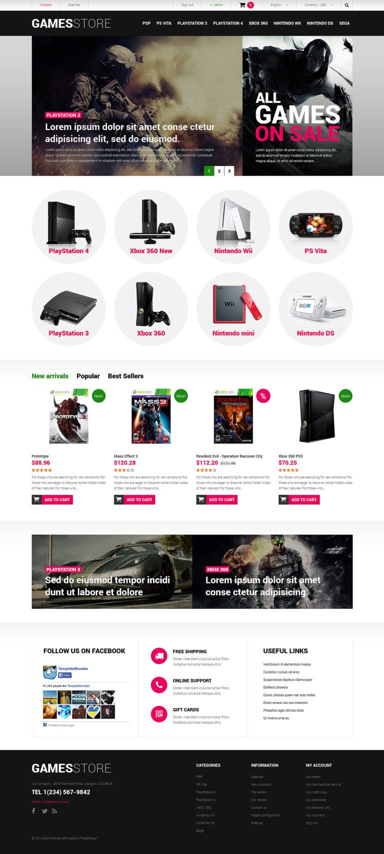 Video Games Consoles PrestaShop Theme New Screenshots BIG