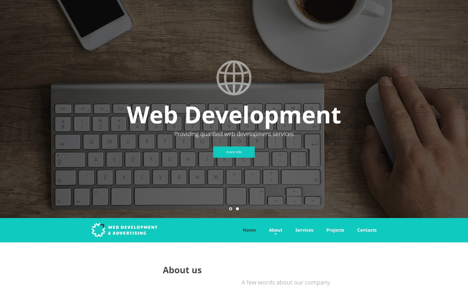 """Web Development & Advertising - Web Development Responsive Website Template"" 响应式网页模板 #52537"