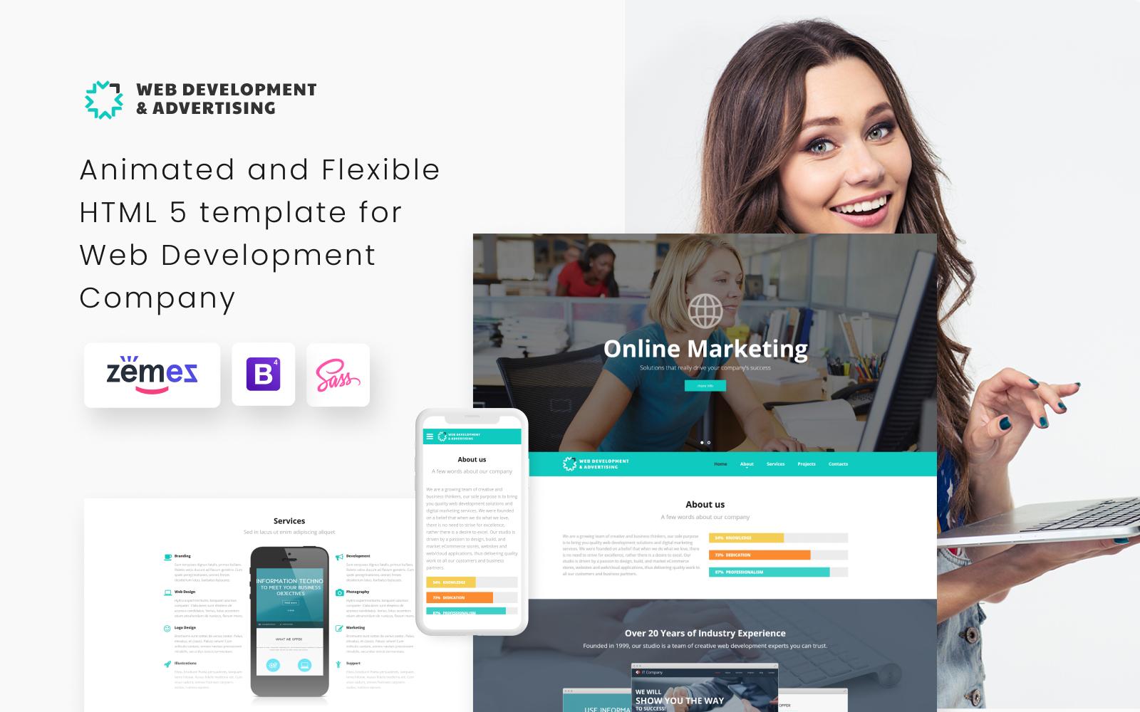 """Website Vorlage namens """"Web Entwicklung und Online-Werbung"""" #52537 - Screenshot"""