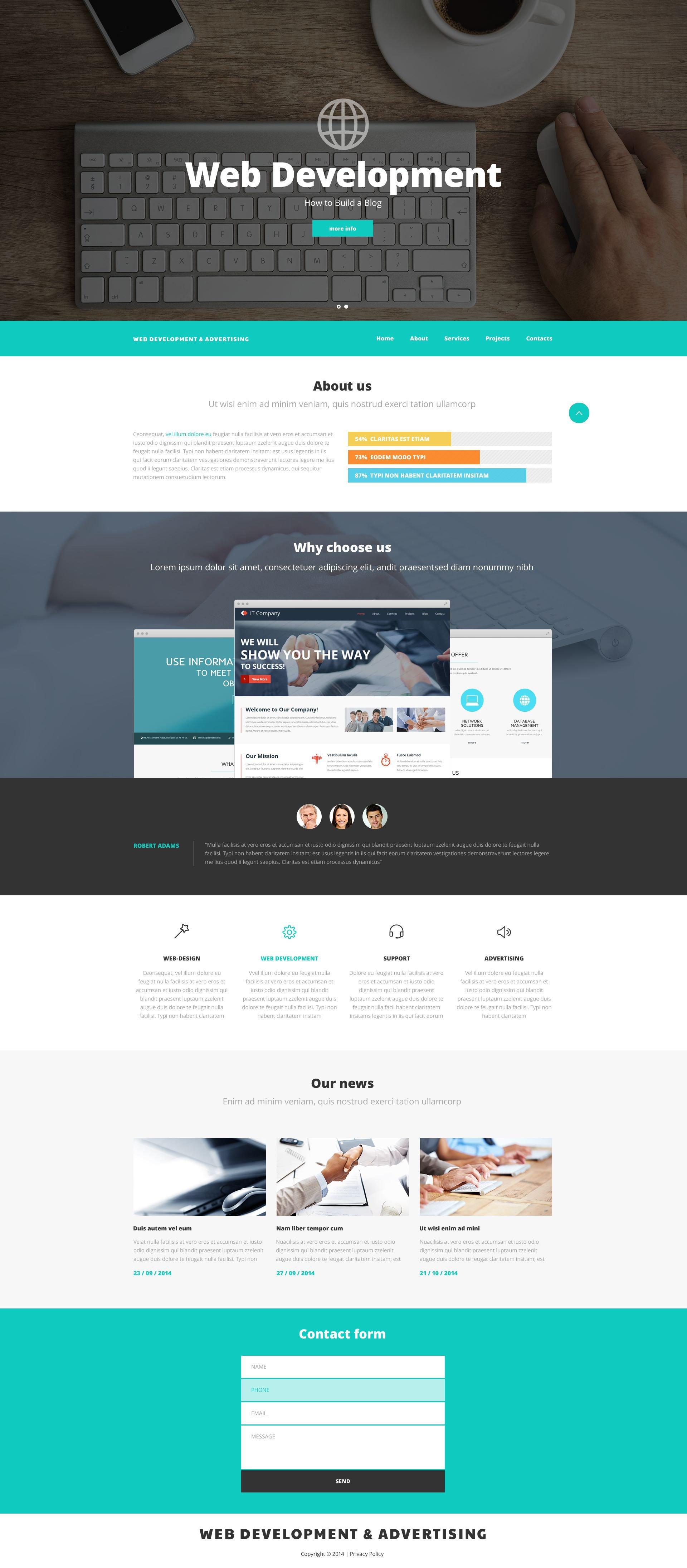 """Website Vorlage namens """"Web Entwicklung und Online-Werbung"""" #52537"""