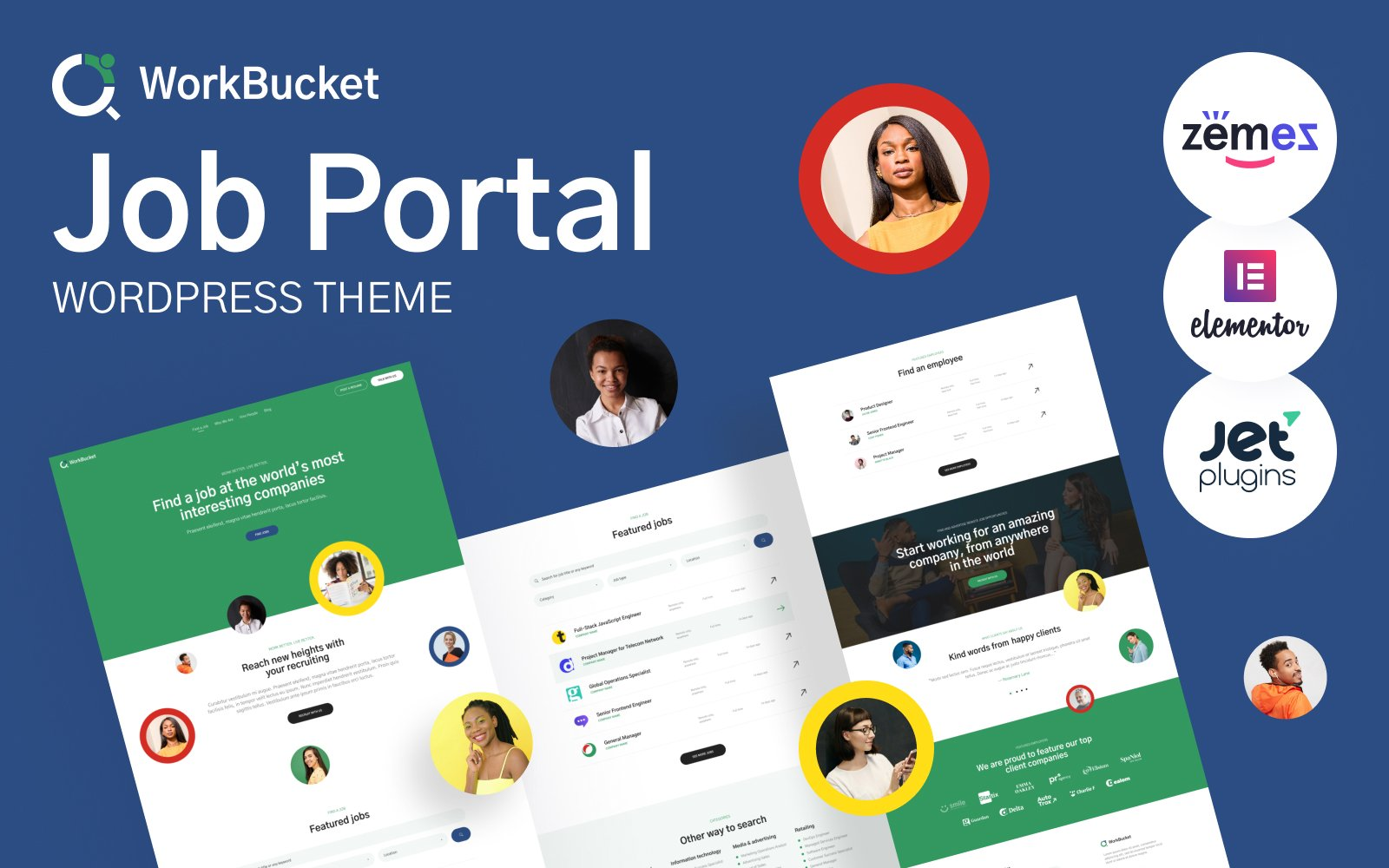 """WorkBucket - Job Portal, Recruitment Directory"" Responsive WordPress thema №52547"