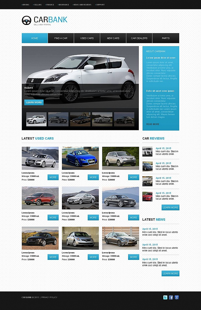 Car Bank Website Template with a Catalog - image