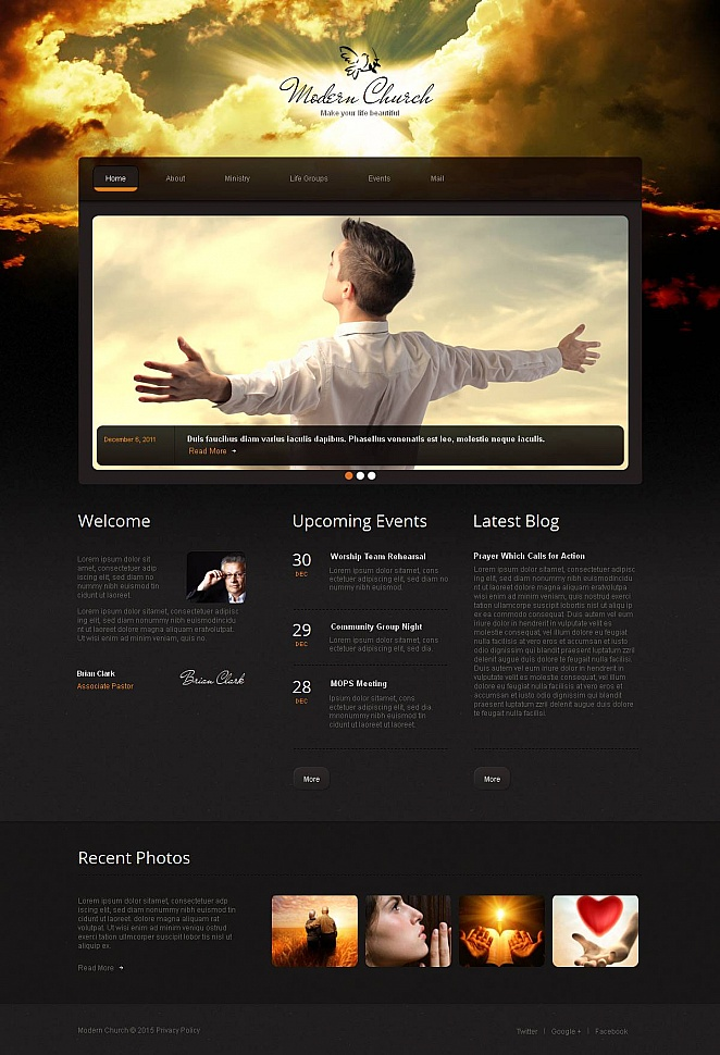 Black Website Template for Modern Church - image