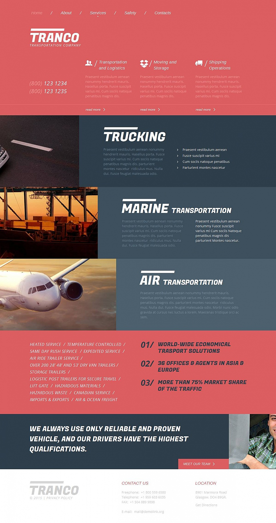 Transport Website Template with Creative Layout - image