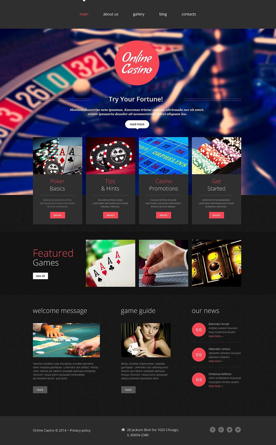 Web Casino template illustration image