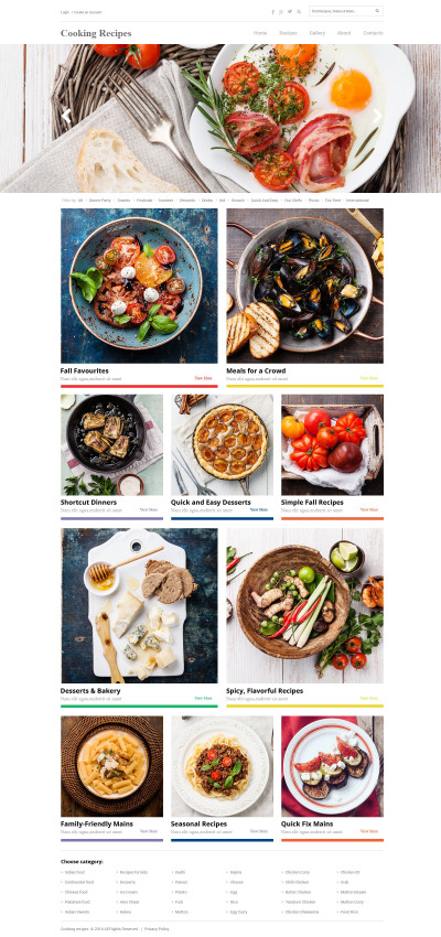 Matlagning Responsivt Hemsidemall