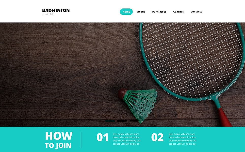 Responsive Website template over Badminton  New Screenshots BIG