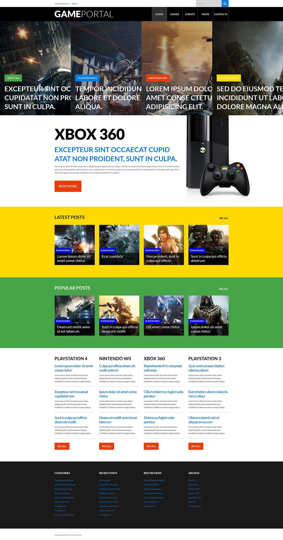 Адаптивный шаблон сайта на тему игровой портал #52656