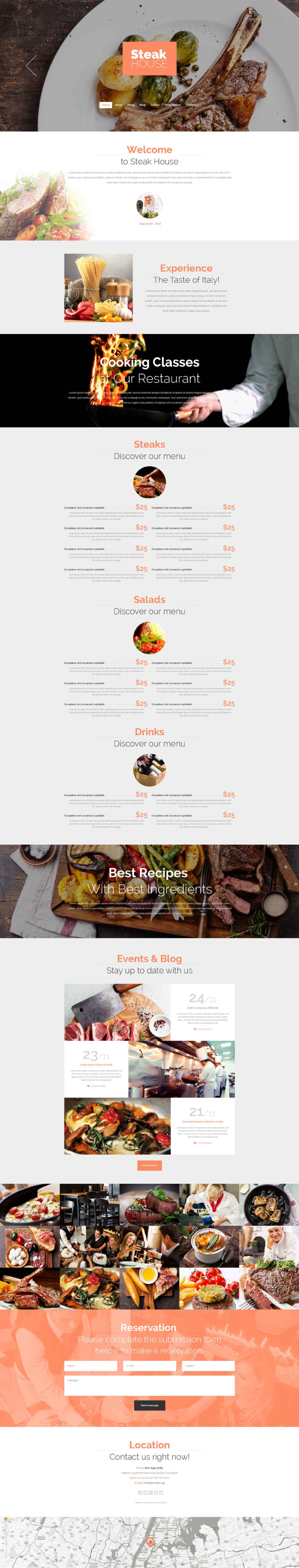 Cafe and Restaurant Drupal Template New Screenshots BIG