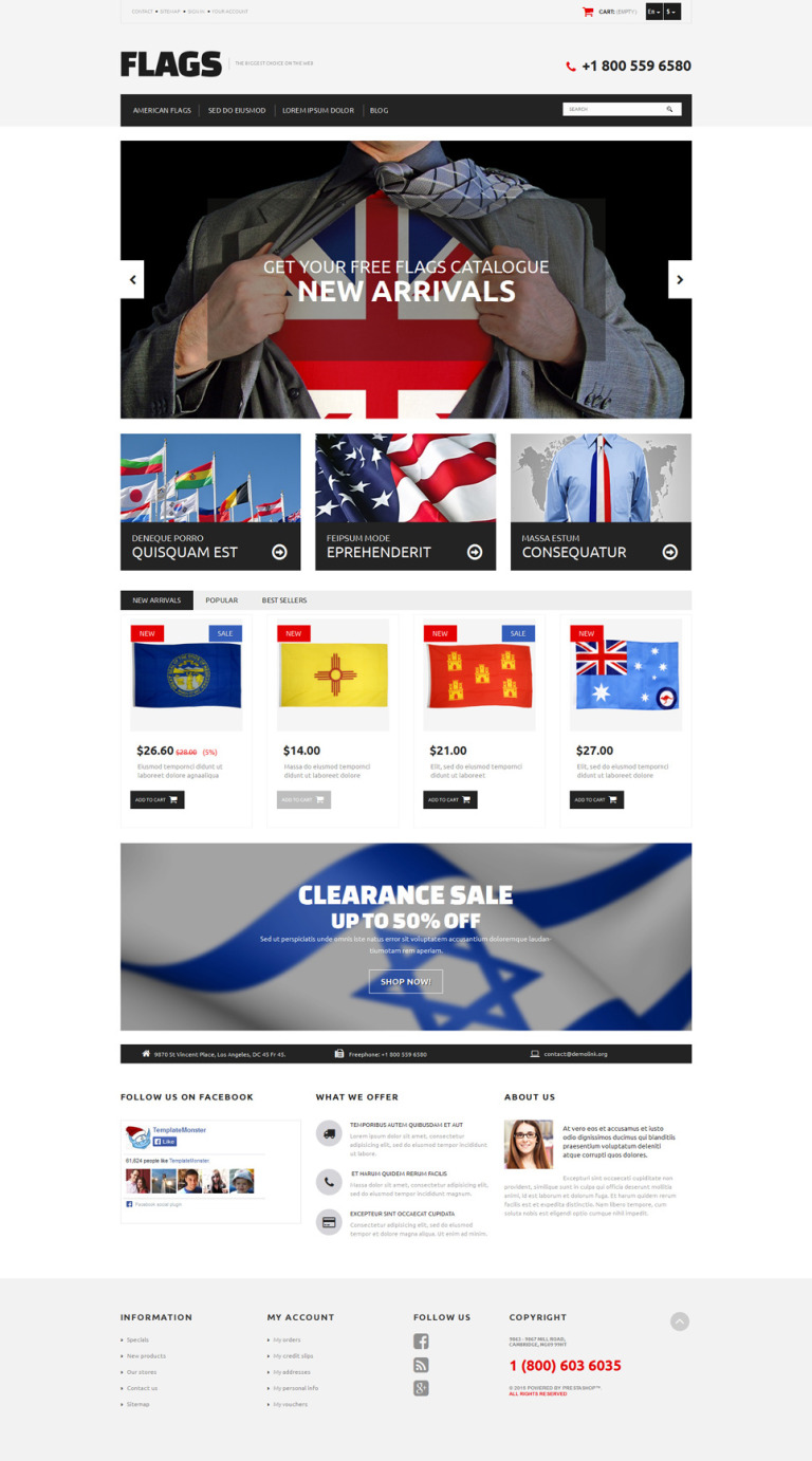 Flag Shop PrestaShop Theme New Screenshots BIG