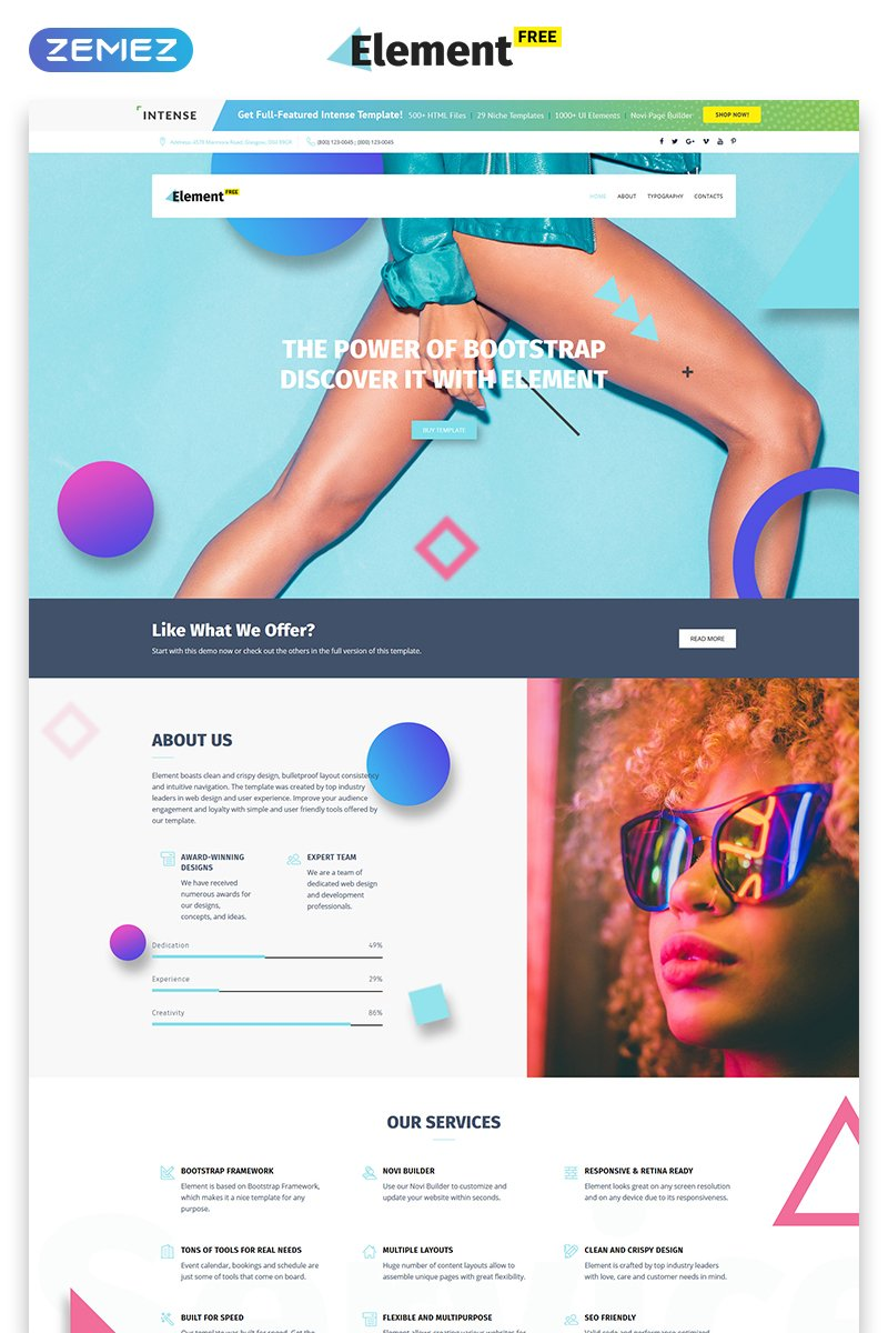 """Free Responsive Design Agency Template"" 响应式网页模板 #52648"